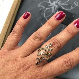 INC International Concepts Gold Crystal Leaf Ring